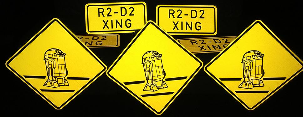 Custom R2D2 artistic print signage