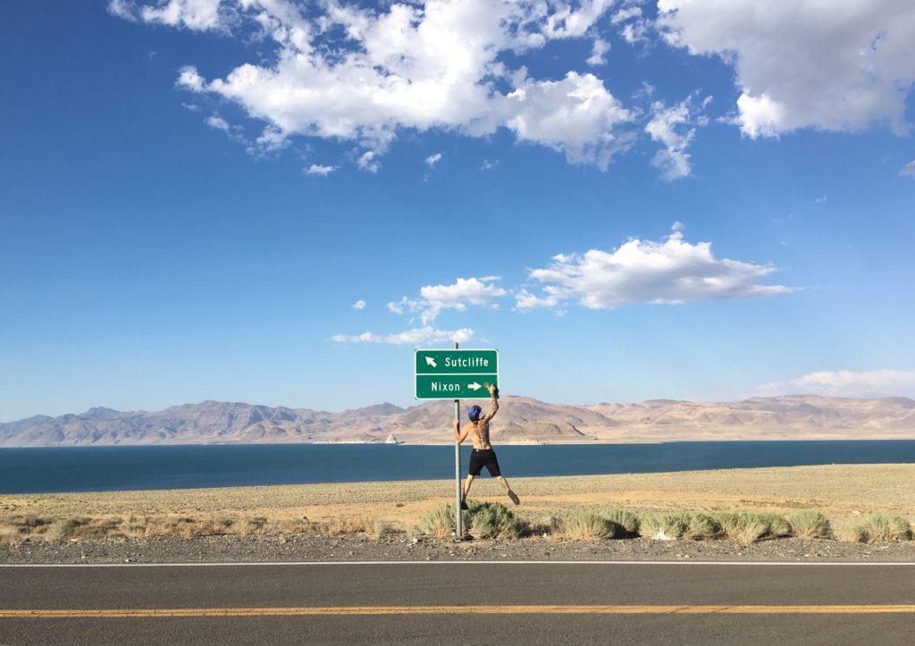 Sticker ups at Pyramid lake on the way to Burning Man